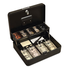Honeywell Tiered CantiDoor Lever Cash Box, Keylock, 11.9 x 9.7 x 3.5, Steel, Black