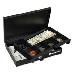 Honeywell Low Profile Cash Box, Keylock, 11.6 x 8 x 1.9, Steel, Black