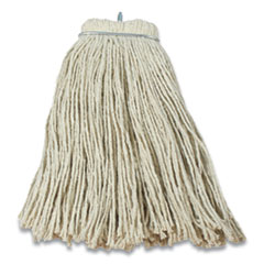 "Impact® Layflat Regular Screw-Type Mop Head, Cotton, 24 oz, 1"" Headband, White"