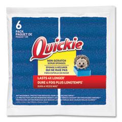 Quickie® Non-Scratch Scrub Sponges, 4.25 x 2.5, Blue, 6/Pack
