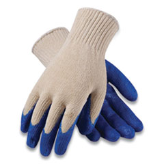 PIP Seamless Knit Cotton/Polyester Gloves, Regular Grade, Large, White/Blue, 12 Pairs