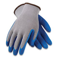 G-Tek® GP Latex-Coated Cotton/Polyester Gloves, Medium, Gray/Blue, 12 Pairs