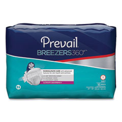 "Prevail® Breezers360 Degree Briefs, Ultimate Absorbency, Size 1, 26"" to 48"" Waist, 96/Carton"
