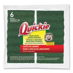 Quickie® Long Lasting Heavy Duty Scrub Sponge, 4.25 x 2.5, Green, 6/Pack