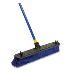 Quickie® Bulldozer Rough Surface Pushbroom, 24 x 60, PET/Powder Coated Steel Handle, Blue/Black