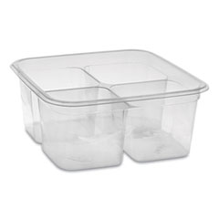 Pactiv EarthChoice PET Container Bases, 4-Compartment, 32 oz, 6.13 x 6.13 x 2.61, Clear, 360/Carton