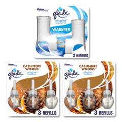 Glade® Plugin Scented Oil, Cashmere Woods, 0.67 oz, 2 Warmers and 6 Refills/Pack