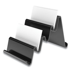 TRU RED™ Four Compartment Business Card Holder, Holds 100 Cards, 3.9 x 6.3 x 4, Plastic, Black