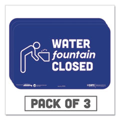 "Tabbies® BeSafe Messaging Education Wall Signs, 9 x 6,  ""Water Fountain Closed"", 3/Pack"