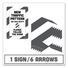 Tabbies® BeSafe Carpet Decals, New Traffic Pattern For Your Safety; Please Follow The Signs, 12 x 18, White/Gray, 7/Pack