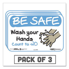 "Tabbies® BeSafe Messaging Education Wall Signs, 9 x 6, ""Be Safe, Wash Your Hands, Count to 20"", 3/Pack"