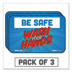 "Tabbies® BeSafe Messaging Education Wall Signs, 9 x 6,  ""Be Safe, Wash Your Hands"", 3/Pack"