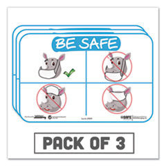 "Tabbies® BeSafe Messaging Education Wall Signs, 9 x 6,  ""Be Safe"", Rhinoceros, 3/Pack"