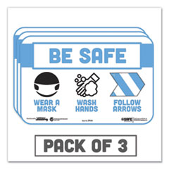 "Tabbies® BeSafe Messaging Education Wall Signs, 9 x 6,  ""Be Safe, Wear a Mask, Wash Your Hands, Follow the Arrows"", 3/Pack"