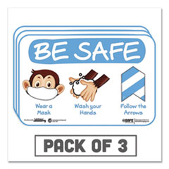 "Tabbies® BeSafe Messaging Education Wall Signs, 9 x 6,  ""Be Safe, Wear a Mask, Wash Your Hands, Follow the Arrows"", Monkey, 3/Pack"
