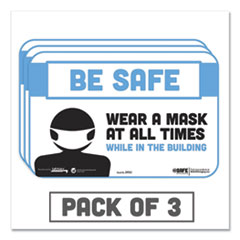 "Tabbies® BeSafe Messaging Education Wall Signs, 9 x 6,  ""Be Safe, Wear a Mask at All Times While in the Building"", 3/Pack"