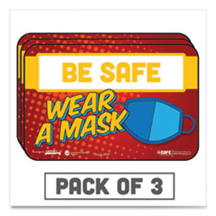 "Tabbies® BeSafe Messaging Education Wall Signs, 9 x 6,  ""Be Safe, Wear A Mask"", 3/Pack"