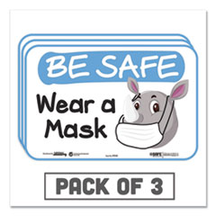 "Tabbies® BeSafe Messaging Education Wall Signs, 9 x 6,  ""Be Safe, Wear a Mask"", Rhinoceros, 3/Pack"