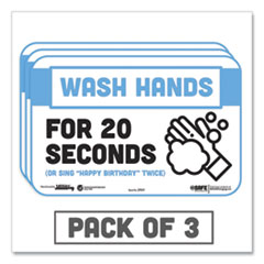 "Tabbies® BeSafe Messaging Education Wall Signs, 9 x 6,  ""Wash Hands For 20 Seconds or Sing Happy Birthday Twice"", 3/Pack"