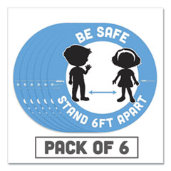 "Tabbies® BeSafe Messaging Education Floor Signs, Be Safe; Stand 6 Ft Apart, 12"" dia, White/Blue, 6/Pack"