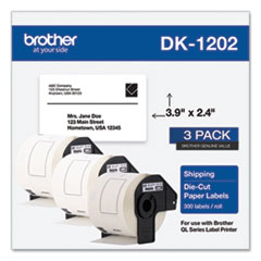 Brother Die-Cut Shipping Labels, 2.4 x 3.9, White, 300/Roll, 3 Rolls/Pack