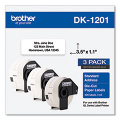 Brother Die-Cut Address Labels, 1.1 x 3.5, White, 400/Roll, 3 Rolls/Pack