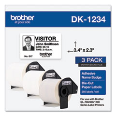 Brother Die-Cut Name Badge Labels, 2.3 x 3.4, White, 260/Roll, 3 Rolls/Pack