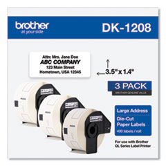 Brother Die-Cut Address Labels, 1.4 x 3.5, White, 400/Roll, 3 Rolls/Pack