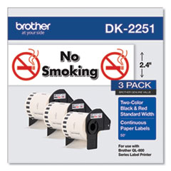 """Brother Continuous Paper Label Tape, 2.44"""" x 100ft, White, 3 Rolls/Pack"""