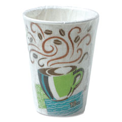 Dixie® PerfecTouch Paper Hot Cups, 12 oz, Coffee Haze Design, Individually Wrapped, 1,000/Carton