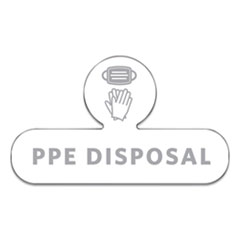 Rubbermaid® Commercial Medical Decal, PPE DISPOSAL, 9.5 x 5.6, White