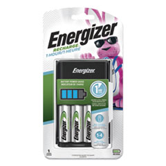 Energizer® Recharge 1 Hour Charger for AA or AAA NiMH Batteries, Includes 4 AA Batteries/Charger, 3 Chargers/Carton
