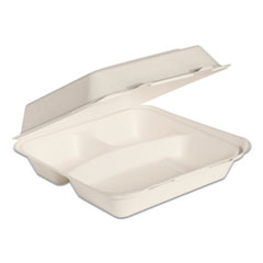 Dart® Bare by Solo Eco-Forward Bagasse Hinged Lid Containers, 3-Compartment, 9.6 x 9.4 x 3.2, Ivory, 200/Carton