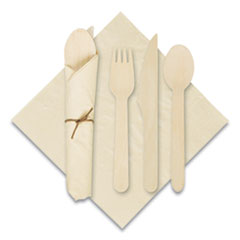 "Hoffmaster® Pre-Rolled Caterwrap Kraft Napkins with Wood Cutlery, 6 x 12 Napkin;Fork;Knife;Spoon, 7"" to 9"", Kraft, 100/Carton"