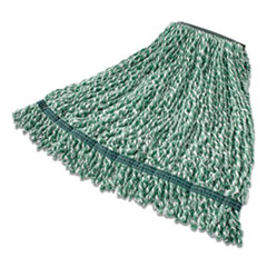 "Rubbermaid® Commercial Web Foot String Mop Heads, Microfiber, Green, Large, 1"" Green Headband"