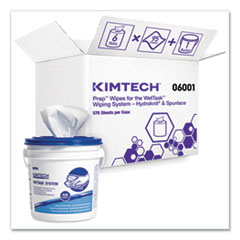 Kimtech™ Wipers for WETTASK System, Bleach, Disinfectants and Sanitizers, 12 x 12.5, 570/Roll, 6 Rolls and 1 Bucket/Carton