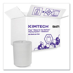 Kimtech™ Wipers for the WETTASK System, Quat Disinfectants and Sanitizers, 6 x 12, 840/Roll, 6 Rolls and 1 Bucket/Carton
