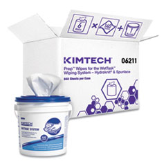 Kimtech™ Wipers for WETTASK System, Bleach, Disinfectants and Sanitizers, 6 x 12, 840/Roll, 6 Rolls and 1 Bucket/Carton