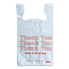 "Monarch® Plastic ""Thank You - Have a Nice Day"" Shopping Bags, 11.5"" x 6.5"" x 22"", White, 250/Box"