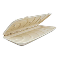 World Centric® Fiber Hinged Containers, Pizza/Flatbread Containers, 6.6 x 13.7 x 1.3, Natural, 200/Carton