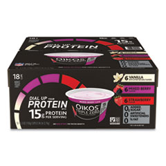 OIKOS® Triple Zero Blended Greek Nonfat Yogurt, 5.3 oz, Strawberry/Mixed Berry/Vanilla, 18/Box, Delivered in 1-4 Business Days