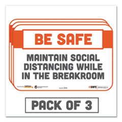 Tabbies® BeSafe Messaging Repositionable Wall/Door Signs, 9 x 6, Maintain Social Distancing While In The Breakroom, White, 3/Pack