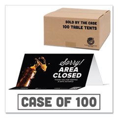 Tabbies® BeSafe Messaging Table Top Tent Card, 8 x 3.87, Sorry! Area Closed Thank You For Keeping A Safe Distance, Black, 100/Carton