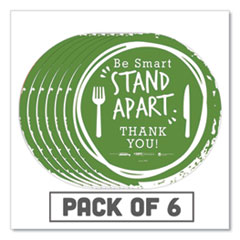 "Tabbies® BeSafe Messaging Floor Decals, Be Smart Stand Apart; Knife/Fork; Thank You, 12"" Dia., Green/White, 6/Carton"