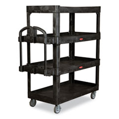 Rubbermaid® Commercial 4-Shelf Heavy-Duty Ergo Utility Cart, 700 lb Capacity, 24.35 x 54.1 x 62.4, Black