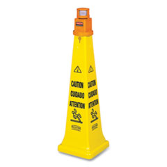 Rubbermaid® Commercial Multilingual Floor Cone Barricade System, 12.25 x 12.25 x 39.75, Yellow/Black