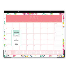 Blue Sky® Day Designer Academic Year Desk Pad, 22 x 17, White Floral, 2021-2022