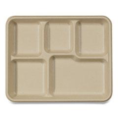 World Centric® Fiber Trays, School Tray, 5-Compartments, 8.5 x 10.5 x 1, Natural, 400/Carton