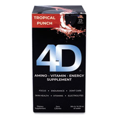 4D Clean Energy Dietary Energy Supplement, Tropical Punch, 0.4 oz Packets, 25/Box, Free Delivery in 1-4 Business Days