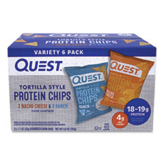 Quest® Tortilla Style Protein Chips, Nacho Cheese/Ranch, 1.1 oz Bag, 6/Box, Delivered in 1-4 Business Days